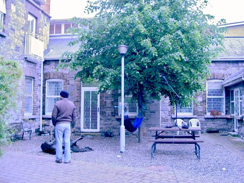 The courtyard in which we recorded foley at stupid o'clock.