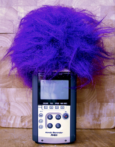 Zoom H4n with Purple Fluffball Windscreen