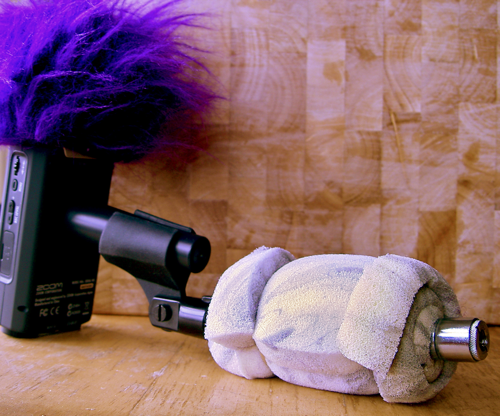 Pistol Grip and Zoom H4n With Purple Fluffball Windscreen