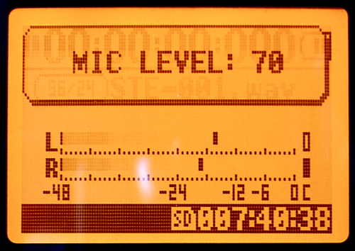 Zoom H4n Record Level Screen